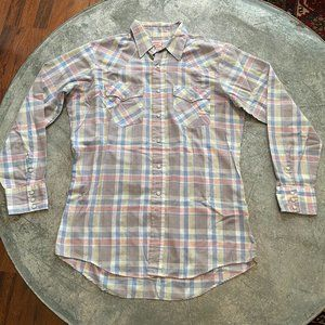 Vintage Saddle King Western Plaid Snap Button Up